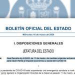 O GOBERNO PUBLICA AS MEDIDAS DE AXUDA EXTRAORDINARIAS FRONTE AO IMPACTO ECONÓMICO E SOCIAL DO CORONAVIRUS
